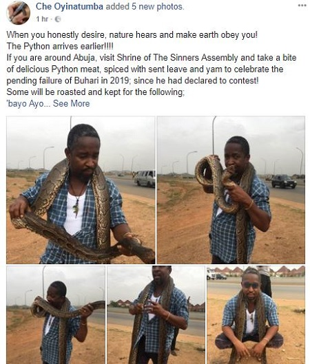 Man Buys Huge Python In Abuja To Celebrate After Buhari Declared To Seek Re-election (Photos) 2