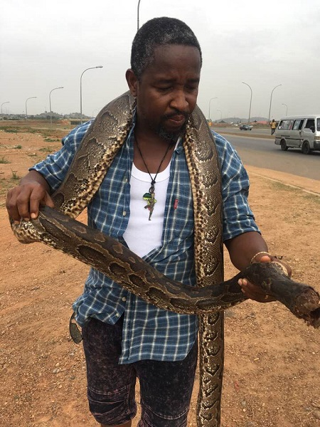 Man Buys Huge Python In Abuja To Celebrate After Buhari Declared To Seek Re-election (Photos) 1
